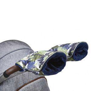 Little Angel rukavice na kočár tisk Mazlík zelené lístky/modrá