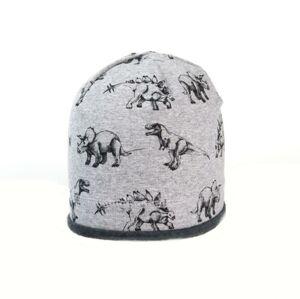 Karpet Dětská bavlněná čepice s paspulí potisk dinosaur - vel.3