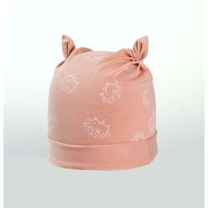 Karpet Kojenecká nasazovací čepice s růžky motiv ježek - losos vel.2