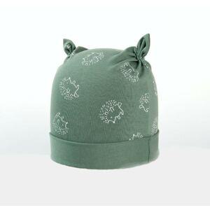 Karpet Kojenecká nasazovací čepice s růžky motiv ježek - oliva vel.2