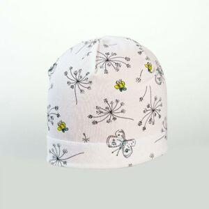 Karpet Dívčí úpletová čepice s potiskem květy - bílá vel.5