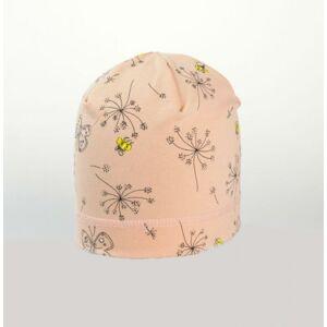 Karpet Dívčí úpletová čepice s potiskem květy - losos vel.5