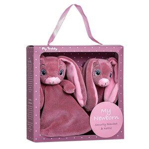 My Teddy Dárkový set - můj malý zajíček a muchláček - růžový