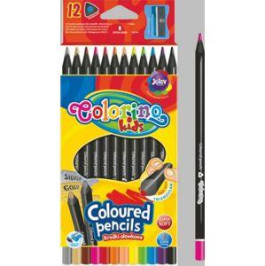 Trojhranné pastelky čierne, 12 farieb