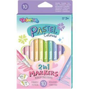 Colorino Pastel - fixky obojstranné 2v1, 10 farieb