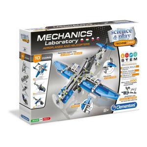 CLEMENTONI Mechanické laboratórium - Lietadlá a vrtuľníky, 10 modelov, 200 dielikov