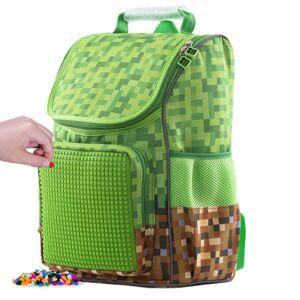 PIXIE CREW školní aktovka pro Minecraft fanoušky zeleno-hnědá s velkým panelem