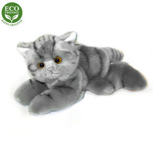 Plyšová kočka šedá ležící, 16 cm, ECO-FRIENDLY