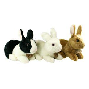 Plyšový králík bílo-černý ležící, 23 cm, ECO-FRIENDLY