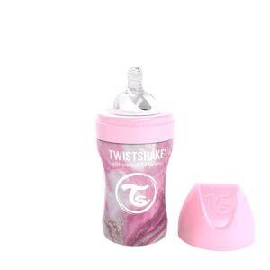 Twistshake Kojenecká láhev Anti-Colic nerezová 260ml (dudl.M) Mramorově růžová