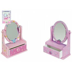 Teddies  dřevěná šperkovnice se zásuvkou a zrcadlem