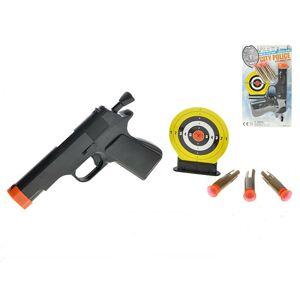 Pištoľ na prísavky 16cm 3ks nábojom s terčom